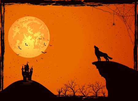 Halloween night background with wolf, castle, Moon, cemetery and bats, illustration. Çizim