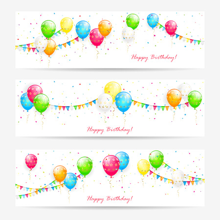 streamers: Holiday cards with colorful balloons, streamers, pennants and confetti, Birthday banners, illustration.