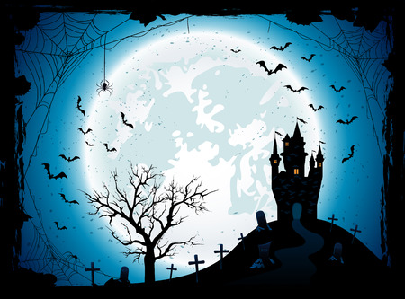 Halloween night background with the Moon, castle, cemetery, bats and spiders, illustration. Illustration