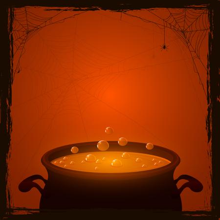 Halloween achtergrond met heksen pot en oranje drankje, illustratie.