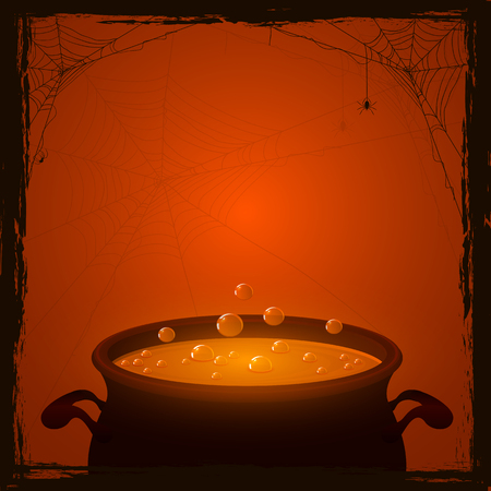 Halloween background with witches pot and orange potion, illustration.