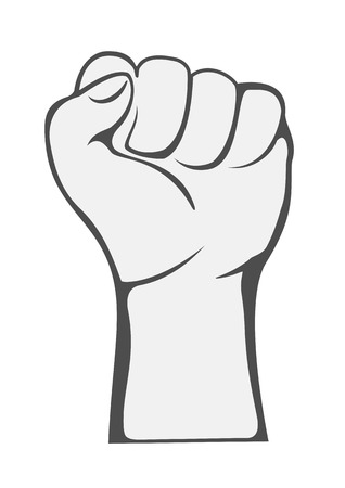 The raised fist in protest isolated on white background, illustration.
