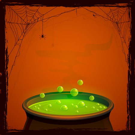 Halloween background with witches pot and green potion, illustration. Stock Illustratie