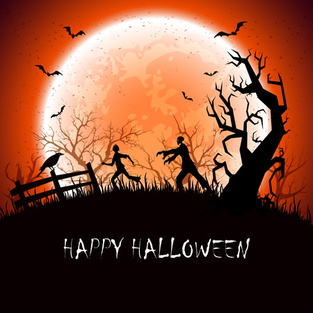 Halloween background with scary zombie and fearfulness running man, illustration.