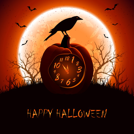Halloween background with a crow sitting on the clock from the pumpkin, illustration.