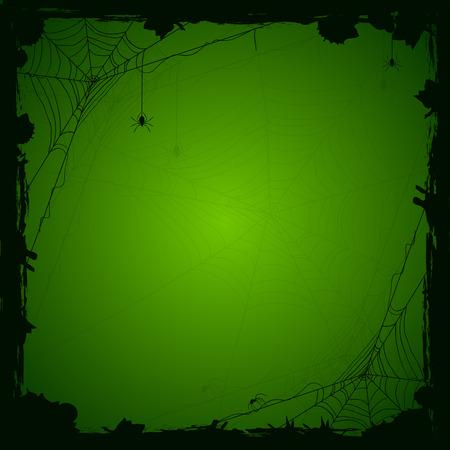 검은 거미와 grunge 요소, 일러스트와 함께 할로윈 녹색 배경입니다.