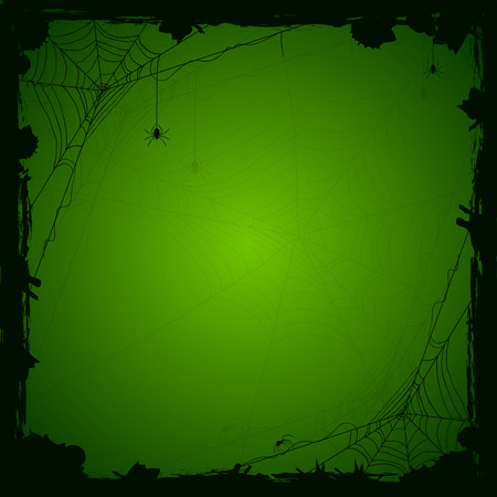 Halloween green background with black spiders and grunge elements, illustration.