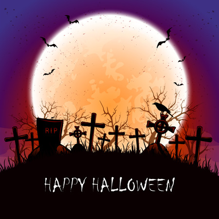 necropolis: Grunge Halloween background with orange Moon,  bats and crow at the cemetery, illustration. Illustration