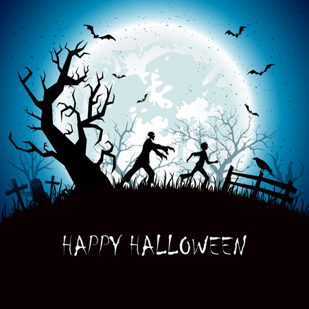 man on the moon: Halloween background with running zombies Illustration