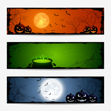 Halloween banners with pumpkins and witches pot