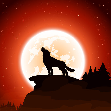 wolves: Orange Halloween night background with wolf and Moon