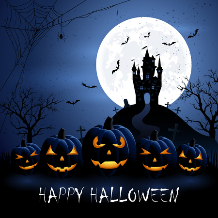 full moon: Halloween night background with pumpkins and castle, illustration. Illustration