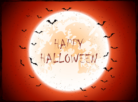 all saints day: Red Halloween background with Moon and bats, illustration.