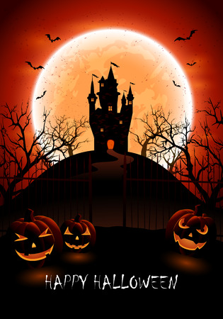 night background: Halloween night background with three pumpkins and castle, illustration.