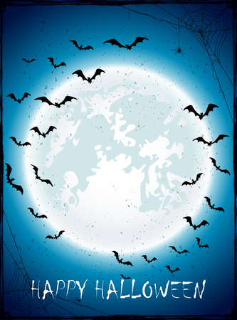 spiderweb: Dark Halloween background with Moon on blue sky, spiders and bats, illustration.