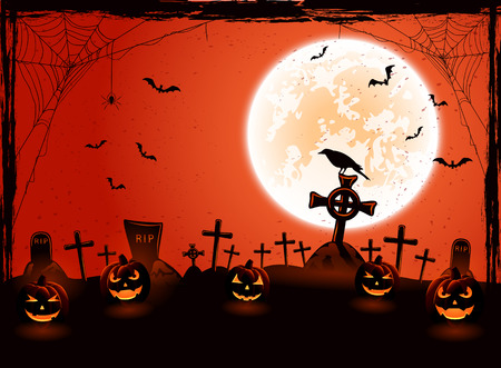 necropolis: Halloween background with Moon and pumpkins on the cemetery, illustration. Illustration