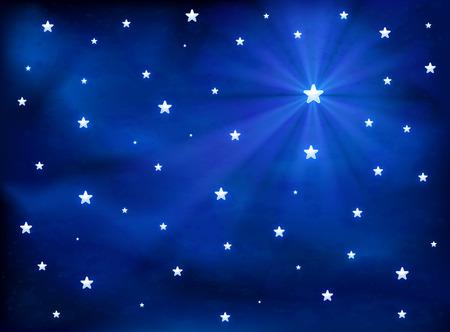 sky: Shining stars in the blue night sky, illustration.