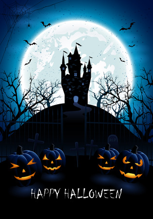 castle: Halloween night background with pumpkins, castle and blue Moon, illustration.