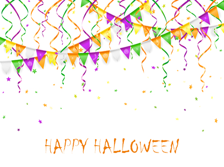 streamers: Halloween background with multicolored pennants and streamers, illustration.