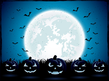 Halloween night with Moon and pumpkins in the grass, illustration.