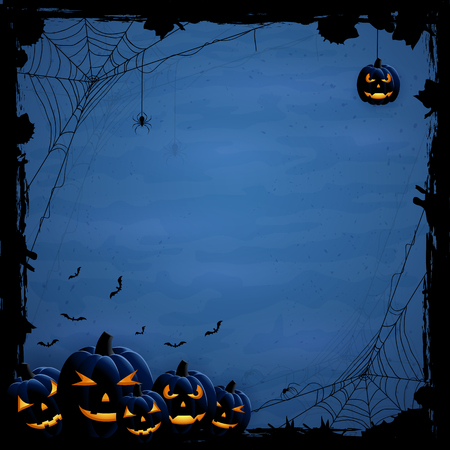 horror: Blue Halloween background with pumpkins and spiders, illustration.