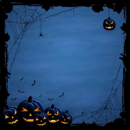 calabaza: Fondo azul de Halloween con calabazas y arañas, ilustración.