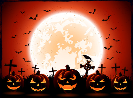 Halloween night with Moon and pumpkins on the cemetery background, illustration.