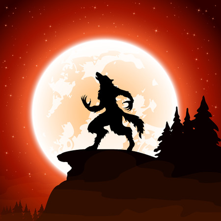 달 배경 그림에 할로윈 밤과 늑대 인간.