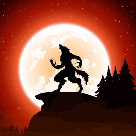 lobo: Noche de Halloween y hombre lobo en la luna de fondo, ilustración.