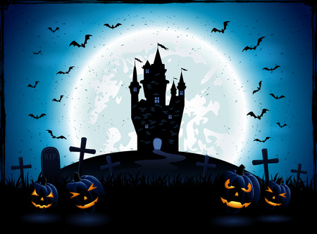 fly black: Halloween night with pumpkins, and castle on blue Moon background, illustration.