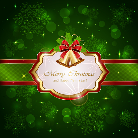 red christmas background: Decorative card with Christmas bells, holly berries and red bow on green background, illustration.