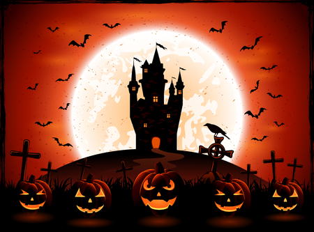necropolis: Halloween night with pumpkins, bats and castle on Moon background, illustration.