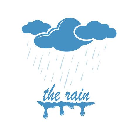 lluvia: Nube azul con la caída de gotas de lluvia, ilustración.
