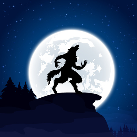 Halloween night background with werewolf and Moon, illustration. Çizim