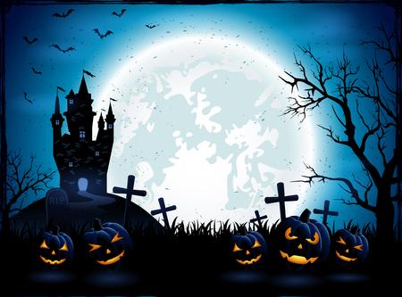 Halloween pompoenen en donkere kasteel op blauwe maan achtergrond, illustratie.