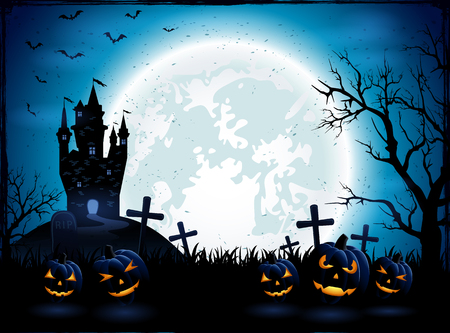 horror: Halloween pumpkins and dark castle on blue Moon background, illustration.