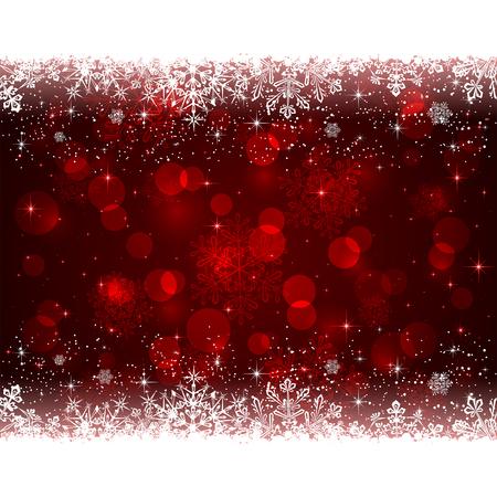 Fondo rojo de Navidad con copos de nieve blanca, ilustración.