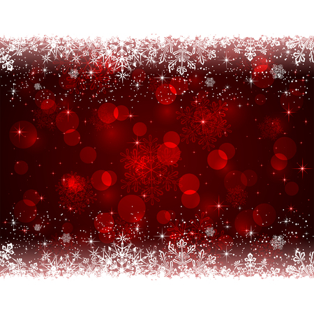 estrellas de navidad: Fondo rojo de Navidad con copos de nieve blanca, ilustración.