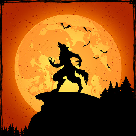 Halloween grunge background with werewolf and orange moon, illustration. Çizim