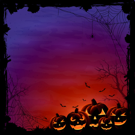 Halloween background with pumpkins and spiders, illustration. Çizim