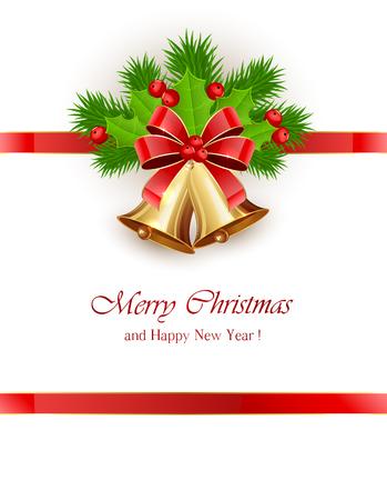 frutos rojos: Arco y oro campanas de Navidad con cinta roja y bayas de acebo en el fondo blanco, ilustraci�n. Vectores