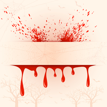 blood: Grunge Halloween background with drops of blood, illustration.