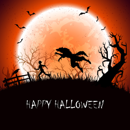 tree silhouette: Halloween background with werewolf and running man, illustration.