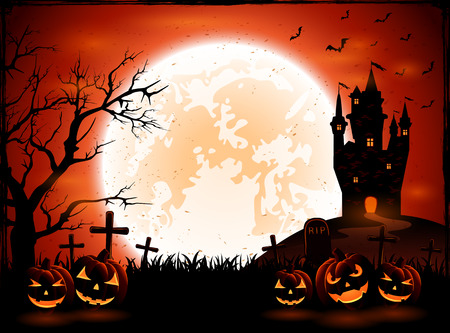 all saints day: Halloween night with pumpkins and dark castle on Moon background, illustration.