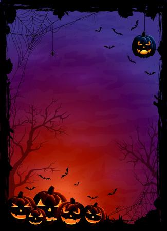 bate: Tema de Halloween con calabazas, murciélagos y arañas en la noche de fondo, ilustración.
