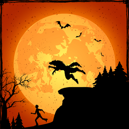 mountain silhouette: Halloween background with running man from werewolf, illustration.