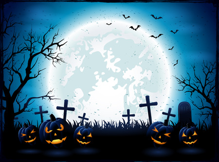 Halloween night with blue Moon and pumpkins, illustration. Çizim