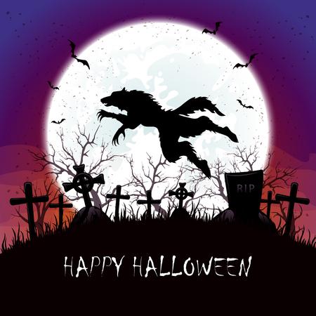 Halloween-Hintergrund auf Friedhof, Werwolf springt, Illustration.