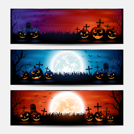 Halloween banners with pumpkins on graveyard, illustration.