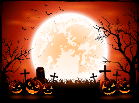 necropolis: Halloween background with pumpkins on graveyard, illustration.